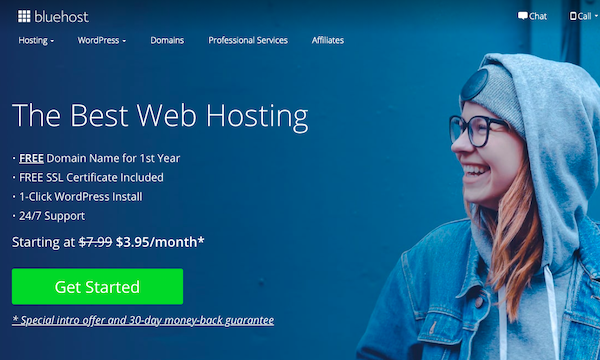 Bluehost - Blog Hosting - Call to Action
